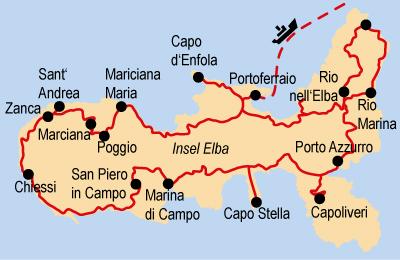 Insel Elba Karte.Wandern Auf Der Insel Elba Im Toskanischen Archipel Hotelbus