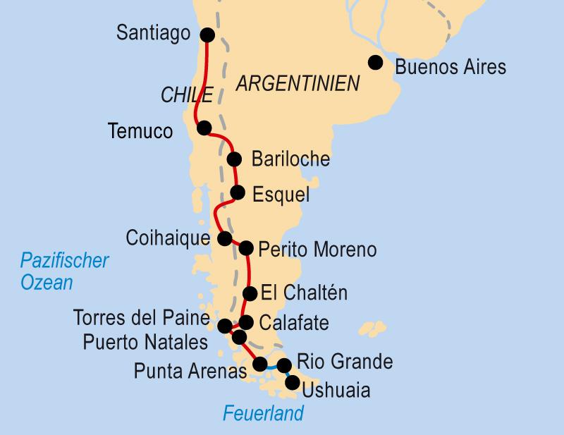 Chile Patagonien Karte.Von Santiago De Chile Bis Nach Ushuaia Hotelbus Reisen Gmbh